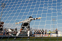 Goalkeeper Karina LeBlanc (23) of the Los Angeles Sol sets up a wall prior to a free kick. The Los Angeles Sol defeated Sky Blue FC 2-0 during a Women's Professional Soccer match at TD Bank Ballpark in Bridgewater, NJ, on April 5, 2009. Photo by Howard C. Smith/isiphotos.com