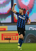 Calcio, Serie A: Inter Milano - Atalanta, Giuseppe Meazza (San Siro) stadium, in Milan, March 8, 2021.  <br /> Inter's Milan Skriniar celebrates after scoring during the Italian Serie A football match between Inter and Atalanta at Giuseppe Meazza (San Siro) stadium, on  March 8, 2021.  <br /> UPDATE IMAGES PRESS/Isabella Bonotto
