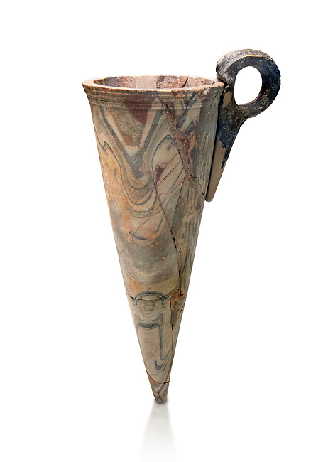 Minoan marble conical rhython, Zakros 1500-1400 BC; Heraklion Archaeological  Museum, white background.