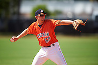GCL Astros third baseman Brody Westmoreland (58) throws to first during the first game of a doubleheader against the GCL Mets on August 5, 2016 at Osceola County Stadium Complex in Kissimmee, Florida.  GCL Astros defeated the GCL Mets 4-1 in the continuation of a game started on July 21st and postponed due to inclement weather.  (Mike Janes/Four Seam Images)