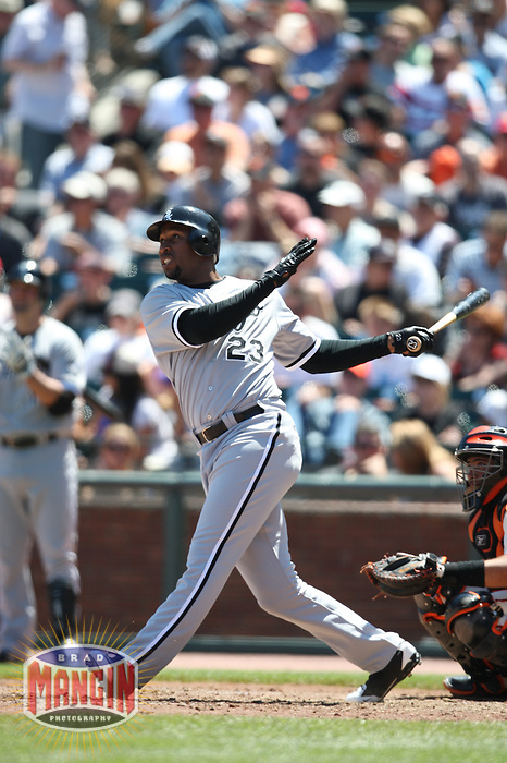 SAN FRANCISCO - MAY 18:  Jermaine Dye of the Chicago White Sox bats during the game against the San Francisco Giants at AT&T Park in San Francisco, California on May 18, 2008.  The White Sox defeated the Giants 13-8.  Photo by Brad Mangin