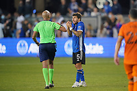 SAN JOSE, CA - JULY 24: Eric Remedi #5 of the San Jose Earthquakes talks with referee Ted Unkel during a game between Houston Dynamo and San Jose Earthquakes at PayPal Park on July 24, 2021 in San Jose, California.