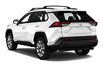 Car pictures of rear three quarter view of a 2019 Toyota RAV4 XLE Premium 5 Door SUV angular rear