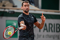 28th September 2020, Roland Garros, Paris, France; French Open tennis, Roland Garros 2020;   Marin CILIC CRO plays a forehand during his match against Dominic THIEM AUT in the Philippe Chatrier court on the first round of the French Open