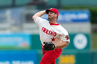 Fresno Grizzlies relief pitcher JJ Hoover (35) pitches during a game against the Reno Aces at Chukchansi Park on April 8, 2019 in Fresno, California. Fresno defeated Reno 7-6. (Zachary Lucy/Four Seam Images)