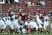 13 October 2007: Erik Lorig and Pannel Egboh and Ekom Udofia attempt to block a kick during Stanford's 38-36 loss to TCU at Stanford Stadium in Stanford, CA.