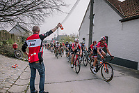 The peloton feeding at the top of the Taaienberg, 16th Ronde Van Vlaanderen<br /> <br /> Elite Womans Race (1.WWT)<br /> <br /> One day race from Oudenaarde to Oudenaarde<br /> ©Jojo Harper for Kramon