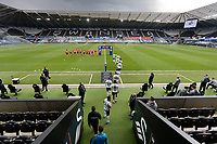 Swansea players exit the tunnel prior to the Sky Bet Championship match between Swansea City and Derby County at the Liberty Stadium, Swansea, Wales, UK. Saturday 01 May 2021