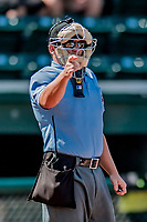 3 September 2018: MiLB umpire Jordan Sandberg calls a strike during a game between the Tri-City ValleyCats and the Vermont Lake Monsters at Centennial Field in Burlington, Vermont. The Lake Monsters defeated the ValleyCats 9-6 in the last game of the 2018 NY Penn League regular season. Mandatory Credit: Ed Wolfstein Photo *** RAW (NEF) Image File Available ***