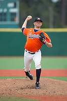 Virginia Cavaliers starting pitcher Connor Jones (33) in action against the Seton Hall Pirates at The Ripken Experience on February 28, 2015 in Myrtle Beach, South Carolina.  The Cavaliers defeated the Pirates 4-1.  (Brian Westerholt/Four Seam Images)