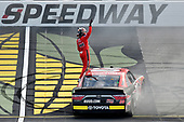 #20: Christopher Bell, Joe Gibbs Racing, Toyota Camry Ruud celebrates his win with a burnout