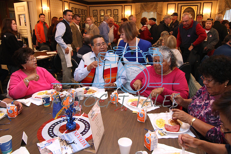 U.S. Senate candidate Sharron Angle talks with supporters during the annual Carson City Republican Women's Nevada Day Pancake Breakfast at the Governor's Mansion on Saturday morning, Oct. 30, 2010, in Carson City, Nev. .Photo by Cathleen Allison