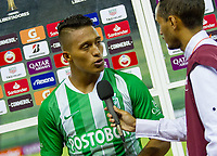 CARACAS - VENEZUELA, 07-02-2019. Sebastian Gomez de Atlético Nacional de Colombia da declaraciones al final del partido con La Guaira de Venezuela por la segunda fase, llave 6, de la Copa CONMEBOL Libertadores Bridgestone 2019 jugado en el estadio Olimpico UCV de la ciudad de Caracas. / Sebastian Gomez of Atletico Nacional of Colombia gives declarations to the tvl during the match with La Guaira of Venezuela for the second phase, key 6, of the Copa CONMEBOL Libertadores Bridgestone 2019 played at Olimpico UCV stadium in Caracas city. Photo: VizzorImage/ Ederik Palencia /Cont