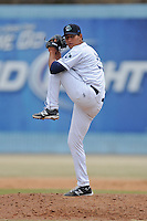Asheville Tourists pitcher Carlos Estevez #35 delivers a pitch during a game against the  Delmarva Shorebirds at McCormick Field on April 6, 2014 in Asheville, North Carolina. The Shorebirds defeated the Tourists 4-2. (Tony Farlow/Four Seam Images)
