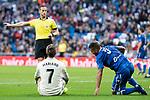 Real Madrid Mariano Diaz and U.D. Melilla Jilmar during King's Cup match between Real Madrid and U.D. Melilla at Santiago Bernabeu Stadium in Madrid, Spain. December 06, 2018. (ALTERPHOTOS/Borja B.Hojas)