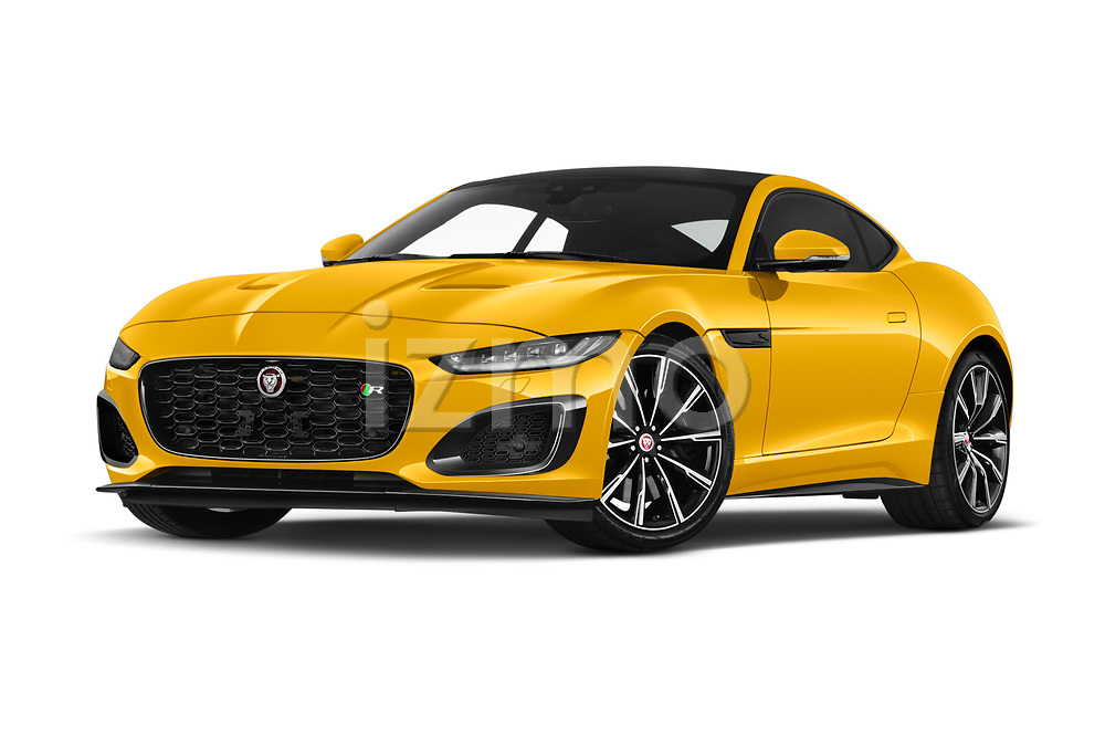 Stock pictures of low aggressive front three quarter view of 2020 Jaguar F-Type R 2 Door Coupe Low Aggressive