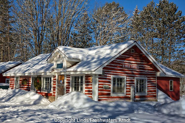 Rustic log cabin tavern