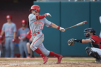 Josh McLain (15) of the North Carolina State Wolfpack follows through on his swing against the Northeastern Huskies at Doak Field at Dail Park on June 2, 2018 in Raleigh, North Carolina. The Wolfpack defeated the Huskies 9-2. (Brian Westerholt/Four Seam Images)