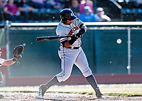 19 June 2018: Connecticut Tigers outfielder Cesar Gonzalez in action against the Vermont Lake Monsters at Centennial Field in Burlington, Vermont. The Lake Monsters defeated the Tigers 5-4 in the rain-postponed conclusion of the Lake Monsters Opening Day game started June 18. Mandatory Credit: Ed Wolfstein Photo *** RAW (NEF) Image File Available ***