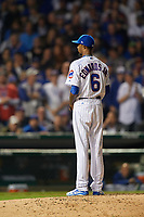 Chicago Cubs pitcher Carl Edwards Jr. (6) gets ready to deliver a pitch in the sixth inning during Game 3 of the Major League Baseball World Series against the Cleveland Indians on October 28, 2016 at Wrigley Field in Chicago, Illinois.  (Mike Janes/Four Seam Images)