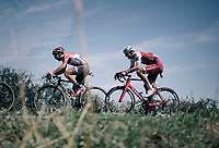 Thomas de Gendt (BEL/Lotto-Soudal) & Reto Hollenstein (SUI/Katusha-Alpecin) in the breakaway group<br /> <br /> 104th Tour de France 2017<br /> Stage 14 - Blagnac › Rodez (181km)
