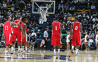 Detroit players on the court. The California Golden Bears defeated the Detroit Titans  95-61 during the regional round of the 2K Sports Classic benefiting coaches vs cancer at Haas Pavilion in Berkeley, California on November 11th, 2009.
