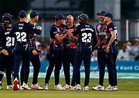 Darren Stevens (C) of Kent is mobbed after taking the wicket of D'Arcy Short during Kent Spitfires vs Hampshire Hawks, Vitality Blast T20 Cricket at The Spitfire Ground on 9th June 2021