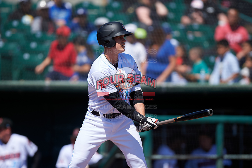 Inland Empire 66ers first baseman David MacKinnon (19) during a California League game against the Modesto Nuts on April 10, 2019 at San Manuel Stadium in San Bernardino, California. Inland Empire defeated Modesto 5-4 in 13 innings. (Zachary Lucy/Four Seam Images)