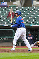Iowa Cubs outfielder Matt Murton (25) at bat during a Pacific Coast League game against the Colorado Springs Sky Sox on May 1st, 2016 at Principal Park in Des Moines, Iowa.  Colorado Springs defeated Iowa 4-3. (Brad Krause/Four Seam Images)
