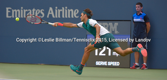 Roger Federer (SUI) defeats Leonardo Mayer (ARG) 6-1, 6-2, 6-2 at the US Open in Flushing, NY on September 1, 2015.