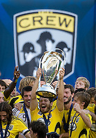 Alejandro Moreno and Columbus Crew team celebrate with MLS Cup trophy during MLS Cup 2008. Columbus Crew defeated the New York Red Bulls, 3-1, Sunday, November 23, 2008. Photo by John Todd/isiphotos.com
