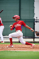 GCL Phillies first baseman Jose Antequera (9) at bat during a game against the GCL Braves on August 3, 2016 at the Carpenter Complex in Clearwater, Florida.  GCL Phillies defeated GCL Braves 4-3 in a rain shortened six inning game.  (Mike Janes/Four Seam Images)
