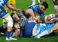 Scott Gregory and Bryce Heem at a breakdown during the Super Rugby Tran-Tasman final between the Blues and Highlanders at Eden Park in Auckland, New Zealand on Saturday, 19 June 2021. Photo: Dave Lintott / lintottphoto.co.nz