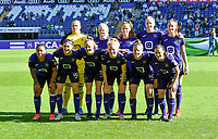Players of Anderlecht with Justien Odeurs , Silke Speeckaert , Amber Maximus , Michelle Colson , Tessa Wullaert , Mariam Abdulai Toloba , Noemie Gelders , Sarah Wijnants , Charlotte Tison , Laura Deloose and Stefania Vatafu pictured posing for the teampicture during a female soccer game between RSC Anderlecht Dames and Standard Femina de Liege on the sixth matchday of the 2021 - 2022 season of Belgian Womens Super League , saturday 9 th of October 2021  in Brussels , Belgium . PHOTO SPORTPIX | DAVID CATRY