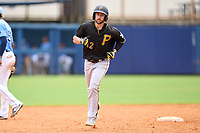 FCL Pirates Black Dustin Fowler (12), on rehab assignment, rounds the bases after hitting a home run during a game against the FCL Rays on August 3, 2021 at Charlotte Sports Park in Port Charlotte, Florida.  (Mike Janes/Four Seam Images)