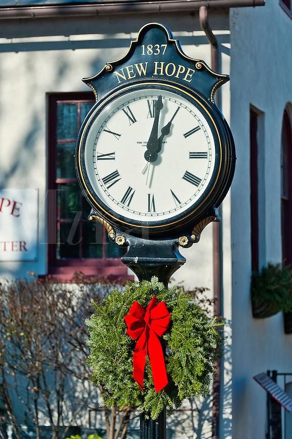 Town clock at Christmas, New Hope, Pennsylvania, USA