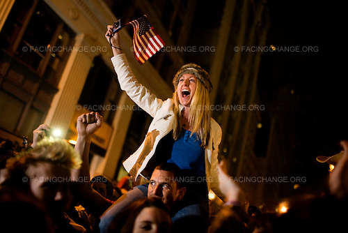 New York, New York<br /> May 2, 2011<br /> <br /> A crowd gathers at the World Trade Center site (Ground Zero) to celebrate after President Obama announced the killing of Osama Bin Laden by US forces in Pakistan.