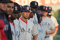 Salem Red Sox players during introductions before a game against the Myrtle Beach Pelicans at Ticketreturn.com Field at Pelicans Ballpark on April 3, 2014 in Myrtle Beach, South Carolina. Salem defeated Myrtle Beach 10-3. (Robert Gurganus/Four Seam Images)