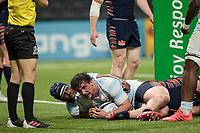 4th April 2021; Paris La Défense Arena, Nanterre, Paris, France; European Champions Cup Rugby, Racing 92 versus Edinburgh;  Try scored by CAMILLE CHAT ( Racing )