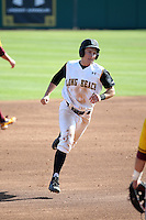 Garrett Hampson (1) of the Long Beach State Dirtbags runs the bases during a game against the Arizona State Sun Devils at Blair Field on February 27, 2016 in Long Beach, California. Long Beach State defeated Arizona State, 5-2. (Larry Goren/Four Seam Images)