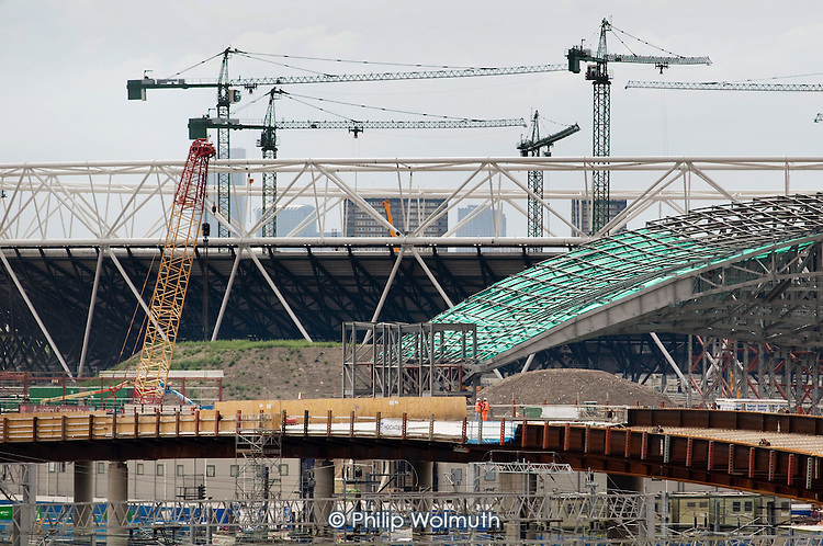 The Olympic stadium and other construction work at the London 2012 Olympic site in East London.