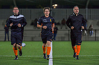 assistant referee Maxime Fievet , referee Sylvie Deckers and assistant referee Denis Lefebvre pictured before a female soccer game between Sporting Charleroi and Club Brugge YLA on the sixth matchday in the 2021 - 2022 season of Belgian Scooore Womens Super League , friday 8 October 2021 in Marcinelle , Belgium . PHOTO SPORTPIX   STIJN AUDOOREN
