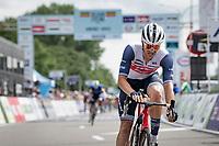 Edward Theuns (BEL/Trek-Segafredo) crossing the finish line, half a wheel behind Wout van Aert <br /> <br /> Belgian National Championships 2021 - Road Race<br /> <br /> One day race from Waregem to Waregem (221km)<br /> <br /> ©kramon