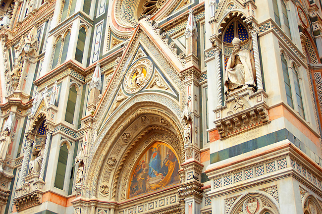 The Dome Cathederal  - Detail Of facade and bell tower ; Florence Italy