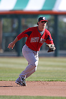 April 14, 2010:  Second Baseman Tug Hulett of the Pawtucket Red Sox in the field during a game at Coca-Cola Field in Buffalo, New York.  Pawtucket is the Triple-A International League affiliate of the Boston Red Sox.  Photo By Mike Janes/Four Seam Images