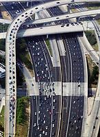 aerial photograph of rush hour traffic timed access to interstate I-75 I-85, Atlanta, Georgia