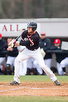 Ryan Lowe (17) of the Davidson Wildcats follows through on his swing against the Wake Forest Demon Deacons at Wilson Field on March 19, 2014 in Davidson, North Carolina.  The Wildcats defeated the Demon Deacons 7-6.  (Brian Westerholt/Four Seam Images)