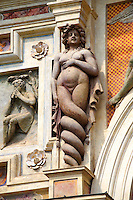 Siren sculpture on the  Organ fountain, 1566, housing organ pipies driven by air from the fountains. Villa d'Este, Tivoli, Italy - Unesco World Heritage Site.