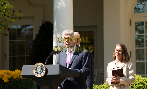 Washington DC, April 10, 2017, USA:  President Donald J Trump introduces the new Associate Supreme Court Justice,Neil Gorsuch at a White House Rose Garden ceremony. Justice Gorsuch was then sworn in by Justice Anthony Kennedy <br /> CAP/MPI/LYN<br /> ©LYN/MPI/Capital Pictures