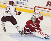Patrick Brown (BC - 23), Adam Miller (Wisconsin - 31) - The Boston College Eagles defeated the visiting University of Wisconsin Badgers 9-2 on Friday, October 18, 2013, at Kelley Rink in Conte Forum in Chestnut Hill, Massachusetts.
